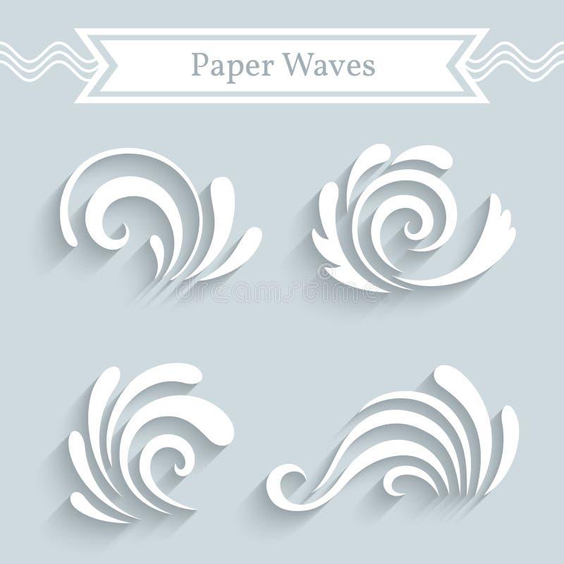Ícones de papel da onda ilustração do vetor