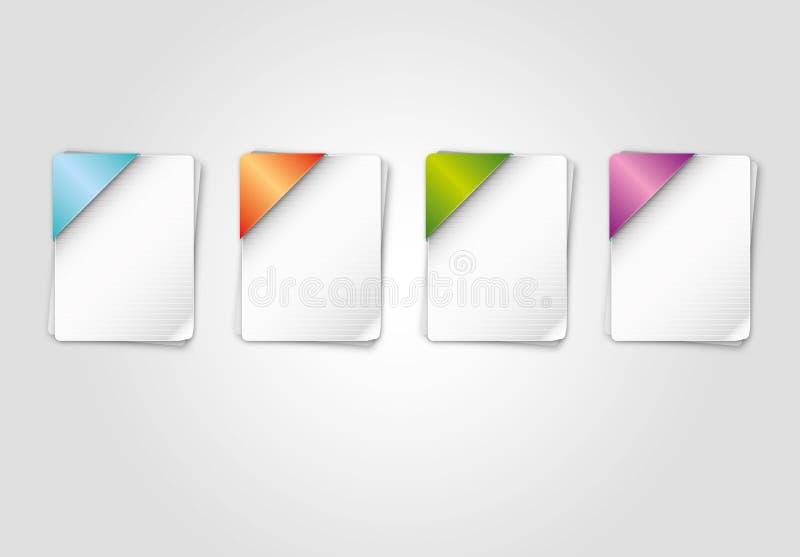 Ícones de papel das cores ilustração royalty free