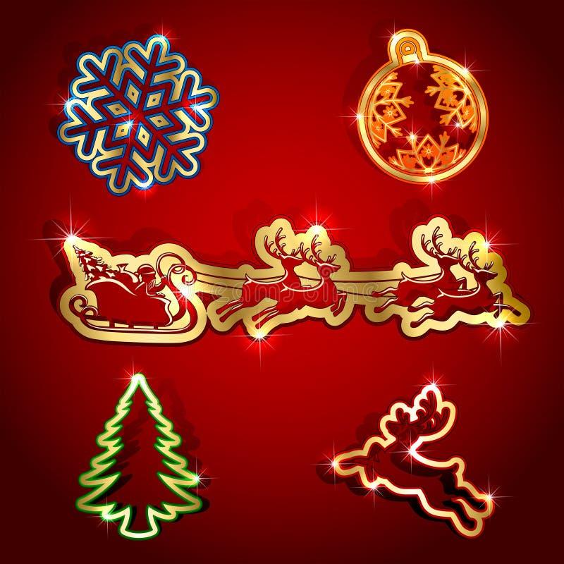 Ícones de papel do Natal ilustração do vetor