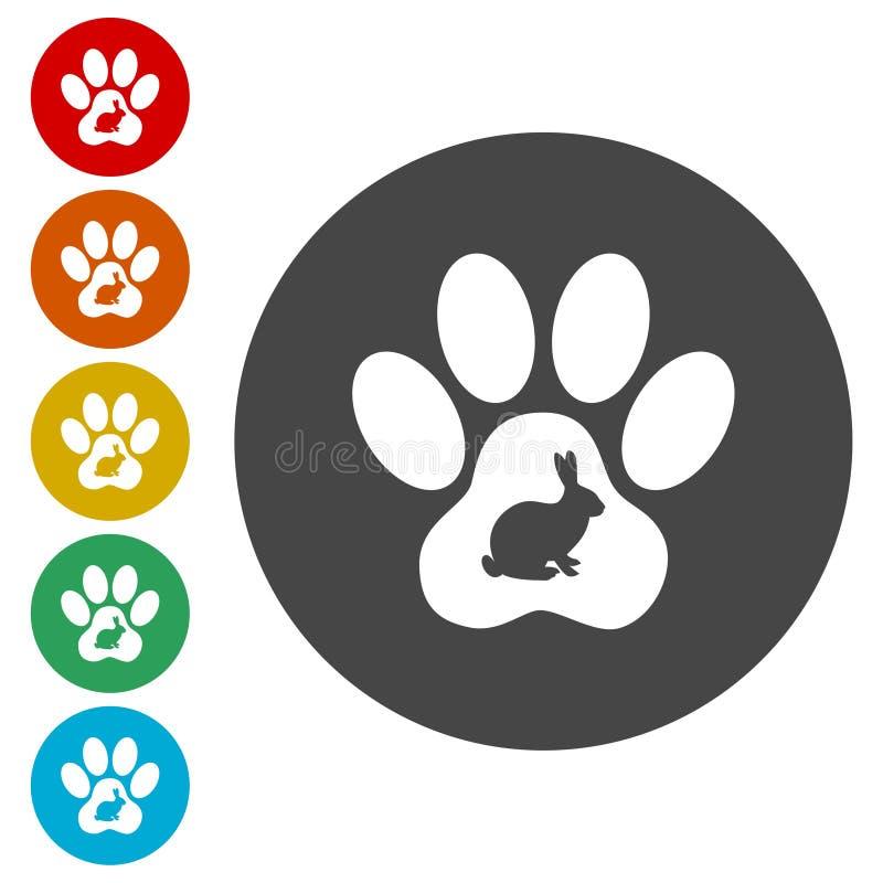 Ícones de Paw Print do coelho ajustados ilustração stock