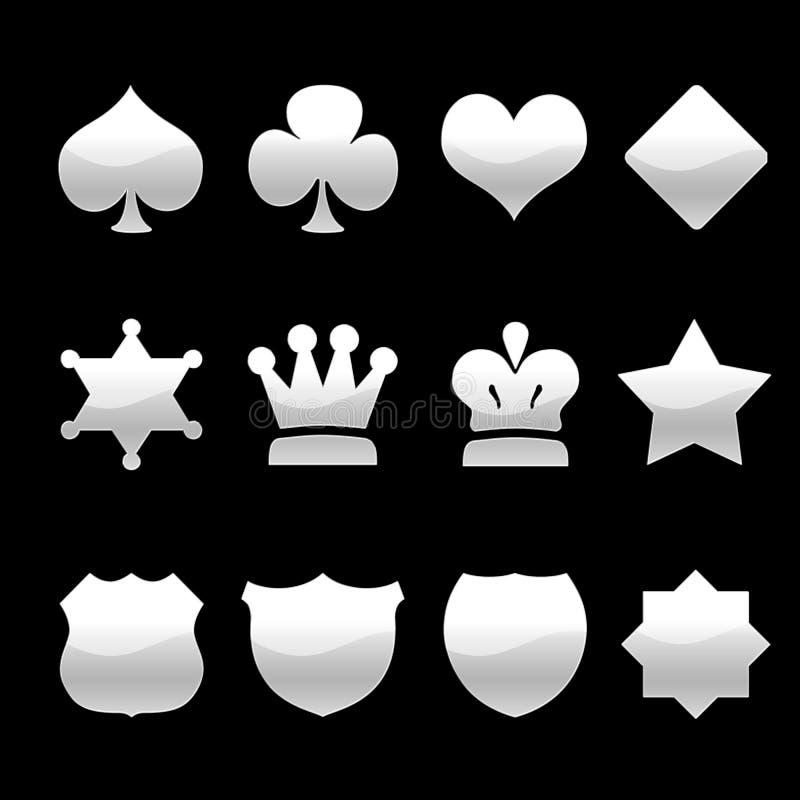 Ícones de prata ilustração stock