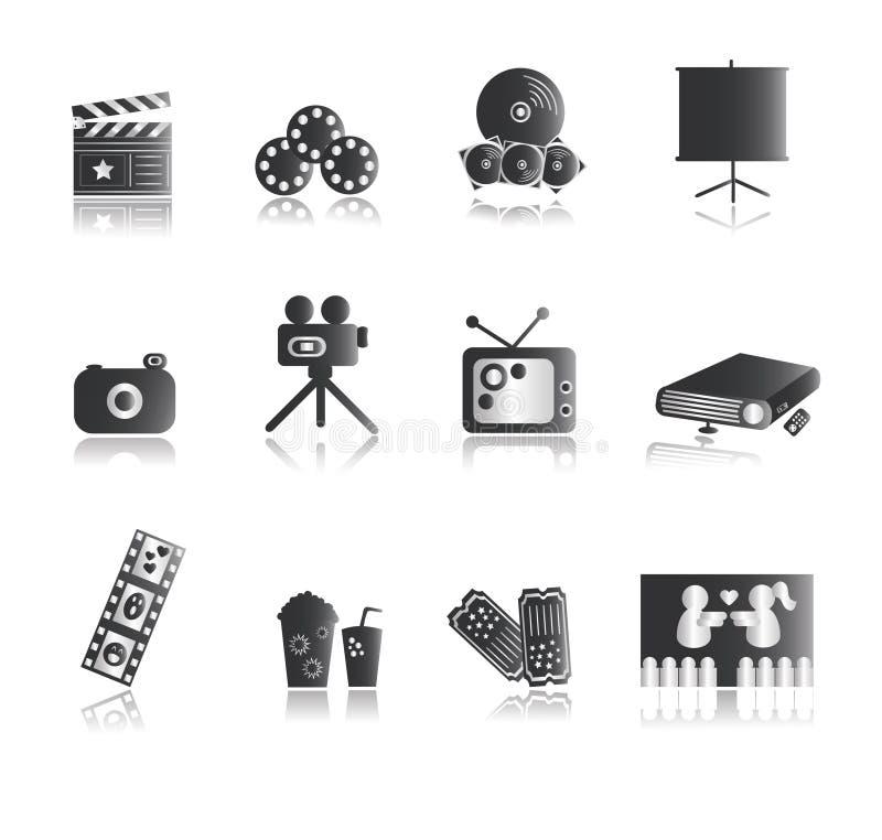 Ícones de prata do entretenimento ilustração stock