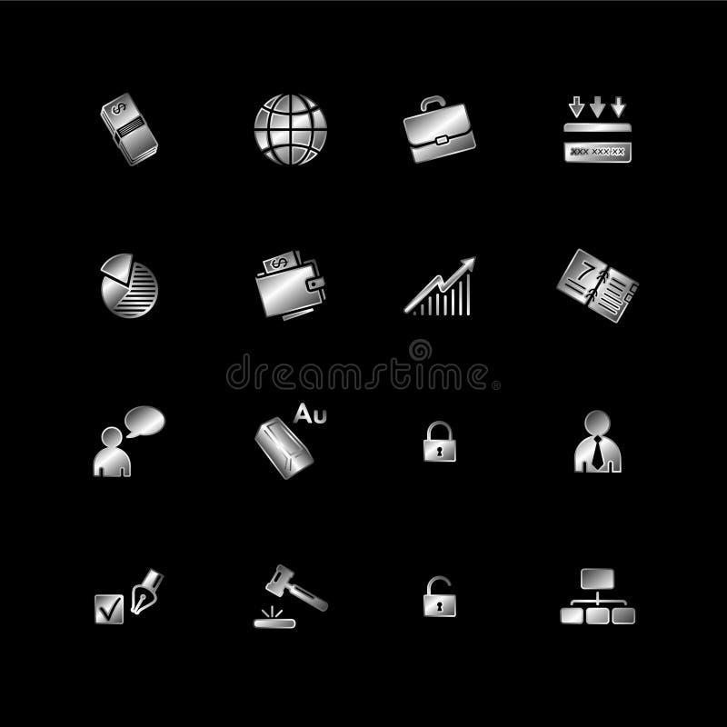 Ícones de prata do negócio ilustração stock