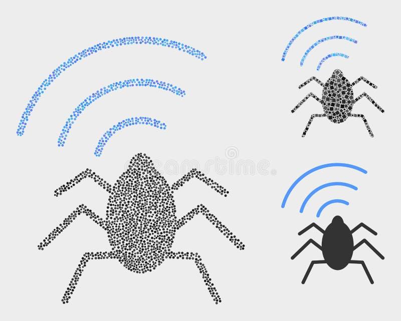 Ícones de rádio do erro do vetor de Pixelated ilustração royalty free