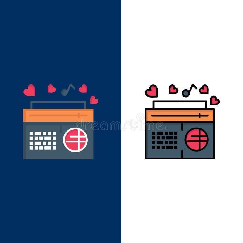 Ícones de rádio, música, FM, alto-falante, músicas Plano de fundo azul do conjunto de ícones de linha e plano ilustração do vetor