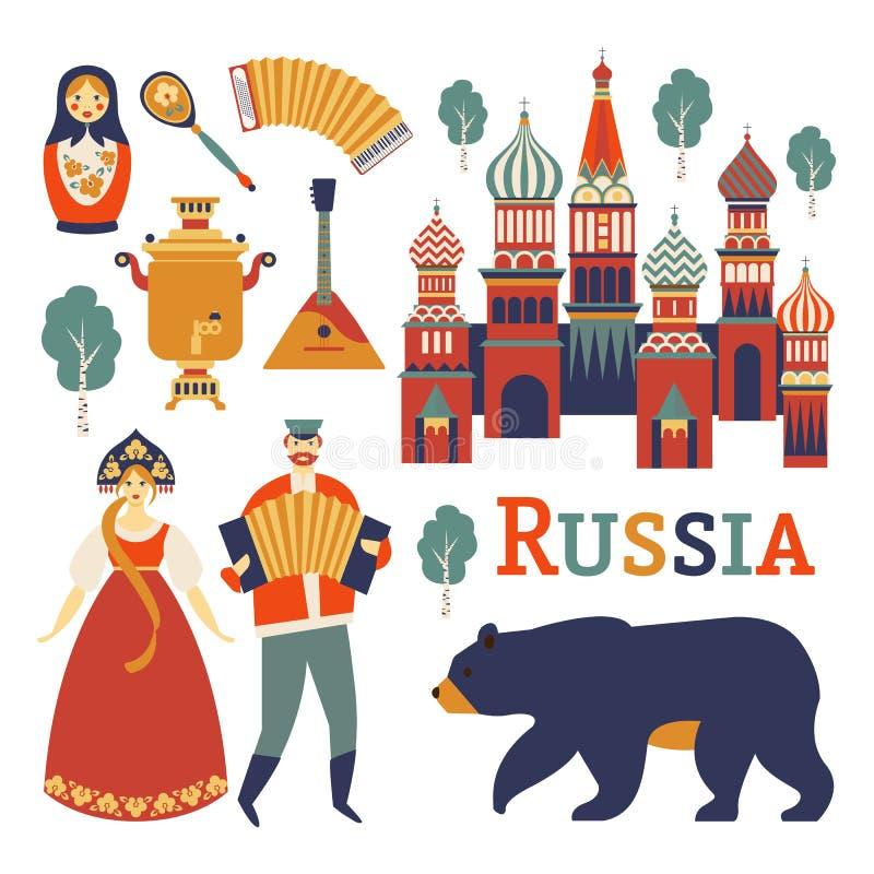 Ícones de Rússia ajustados Vector a coleção de imagens da cultura e da natureza de russo, incluindo a catedral da manjericão s do ilustração do vetor