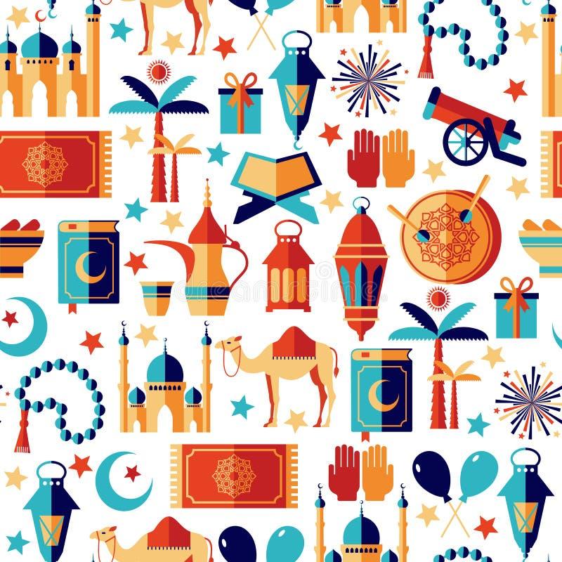 Ícones de Ramadan Kareem ajustados do Arabian ilustração royalty free