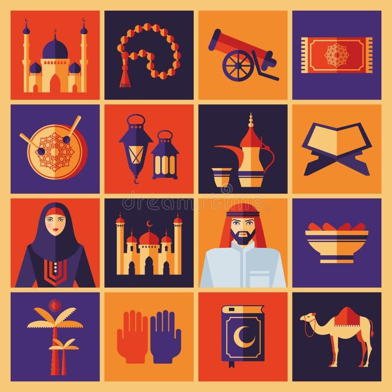 Ícones de Ramadan Kareem ajustados do Arabian Colagem da cor ilustração royalty free