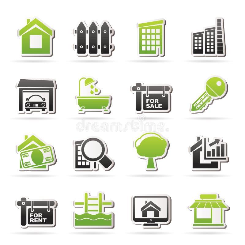 Ícones de Real Estate ilustração do vetor