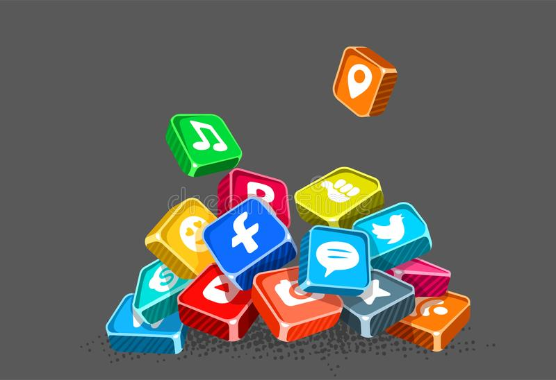 Ícones de redes e de aplicações sociais do Internet ilustração do vetor