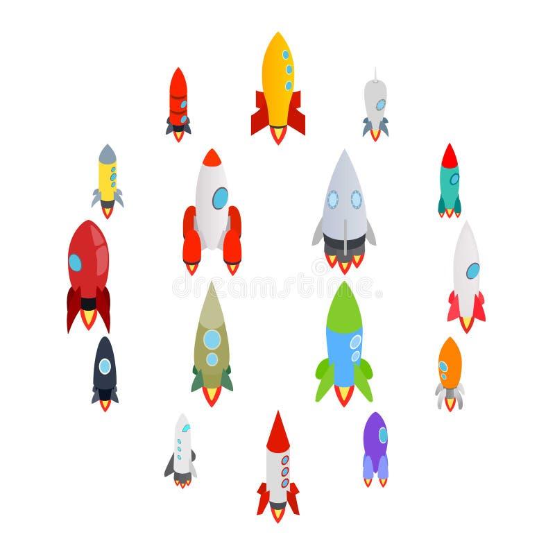 Ícones de Rocket ajustados no estilo 3d isométrico ilustração stock