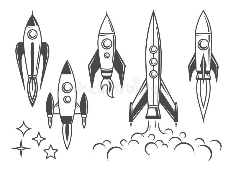 Ícones de Rocket, grupo de ilustrações do vintage-estilo ilustração stock