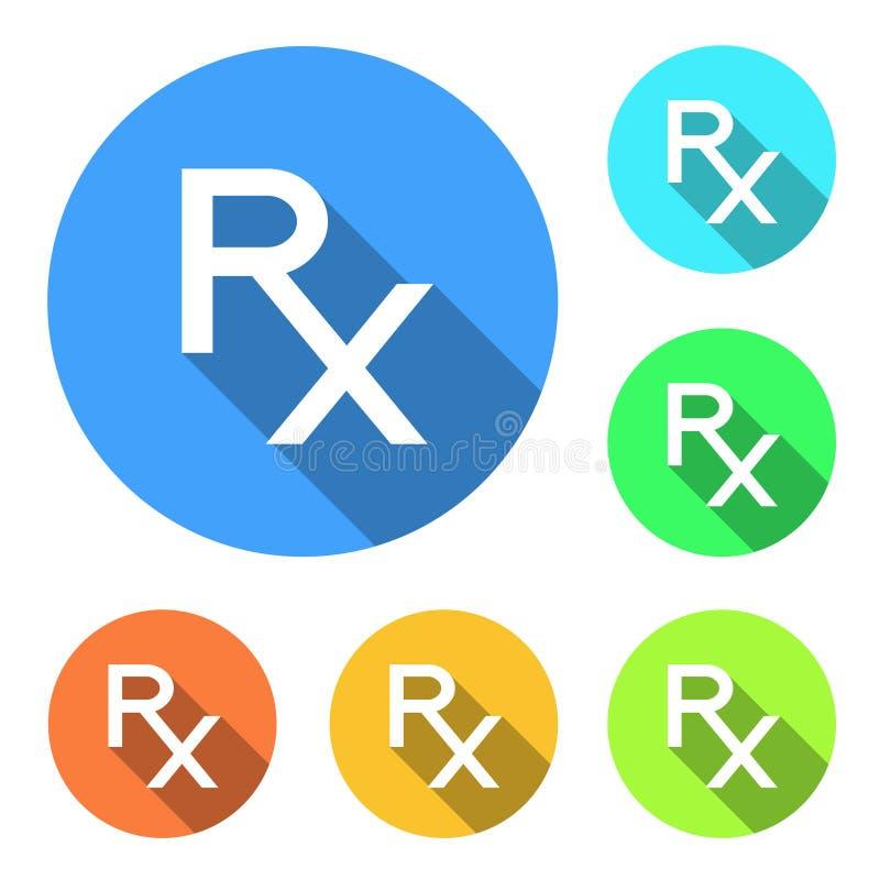 Ícones de Rx Rx assina dentro cores diferentes no fundo branco Rx - símbolo da prescrição Medicina e farmácia Projeto liso do est ilustração stock
