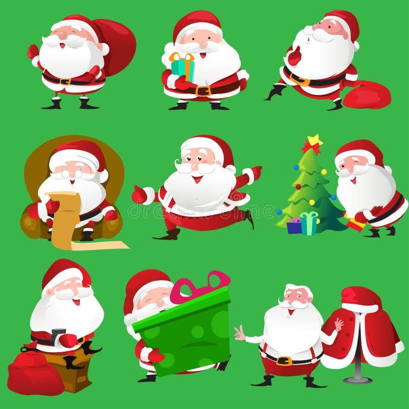 Ícones de Santa Claus ilustração stock