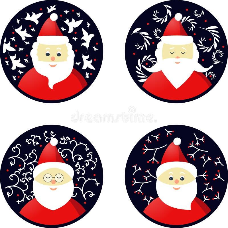 Ícones de Santa Claus nos brinquedos do Natal do formulário ilustração royalty free