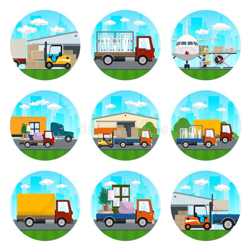 Ícones de serviços do armazém e do transporte ilustração do vetor