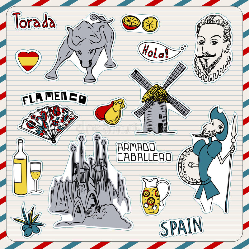 Ícones de Spain ilustração royalty free