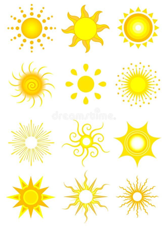 Ícones de Sun ilustração do vetor