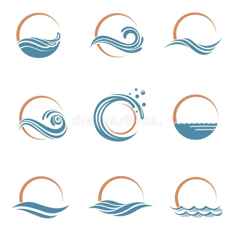 Ícones de Sun e de mar ilustração do vetor