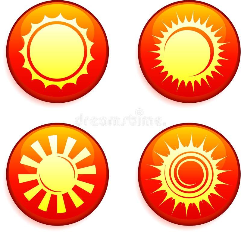 Ícones de Sun em botões do Internet ilustração stock