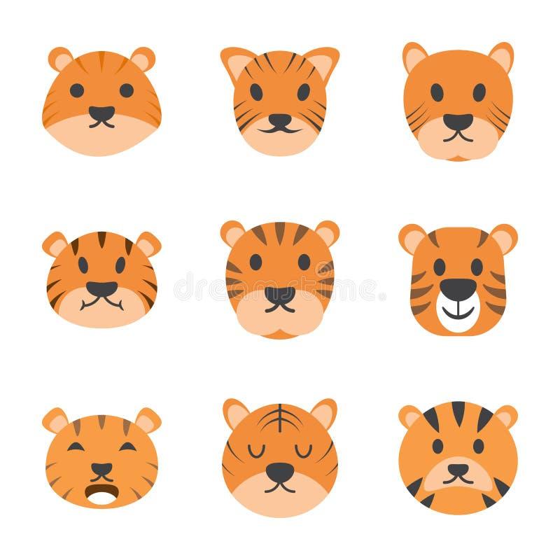 Ícones de Tiger Cartoon Vetora ilustração royalty free