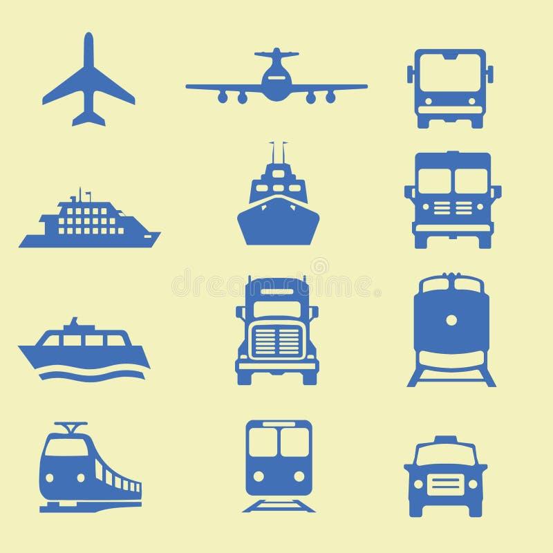 Ícones de Transportion ilustração do vetor
