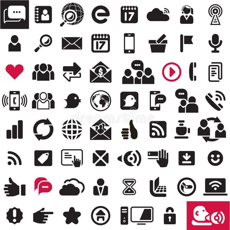 Ícones de uma comunicação. Ícones da Web ajustados. ilustração stock
