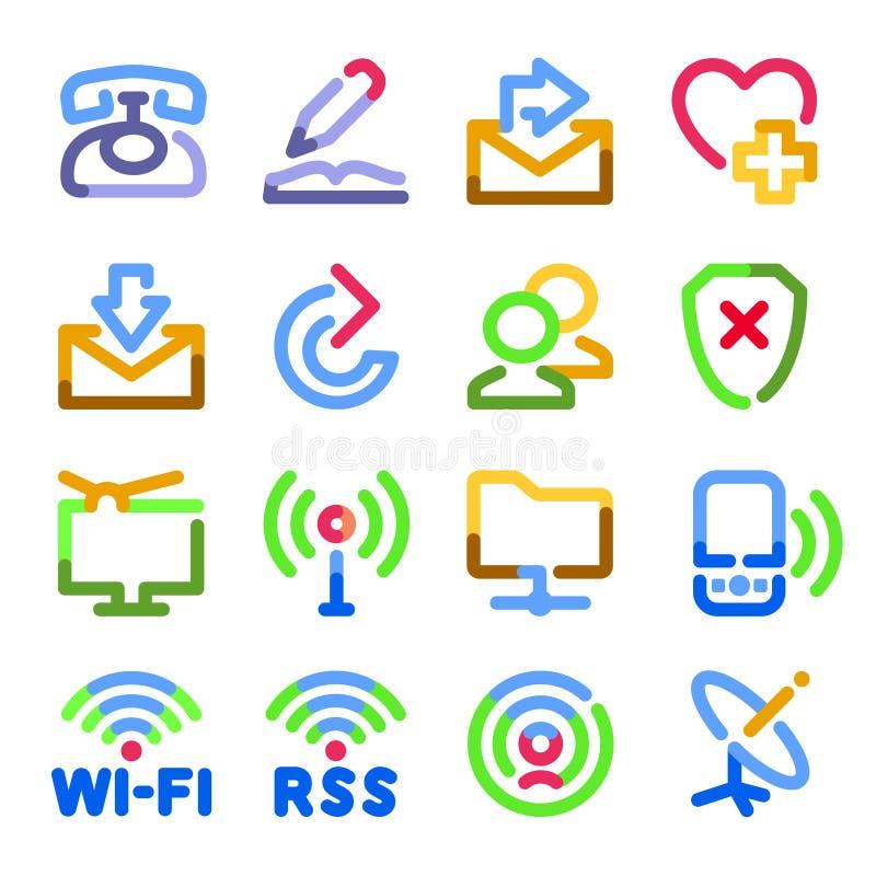 Ícones de uma comunicação. Série do contorno da cor. ilustração do vetor