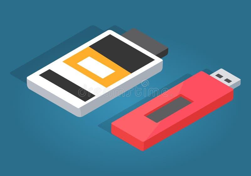 Ícones de USB vermelho e do leitor de cartão branco da memória ilustração royalty free