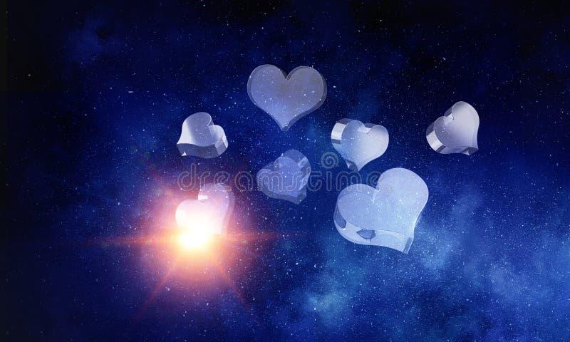 Ícones de vidro do amor Meios mistos imagem de stock