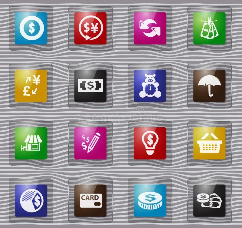 Ícones de vidro de E-commers ajustados ilustração stock