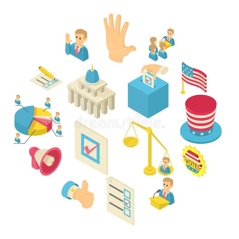 Ícones de votação ajustados, estilo isométrico da eleição ilustração stock