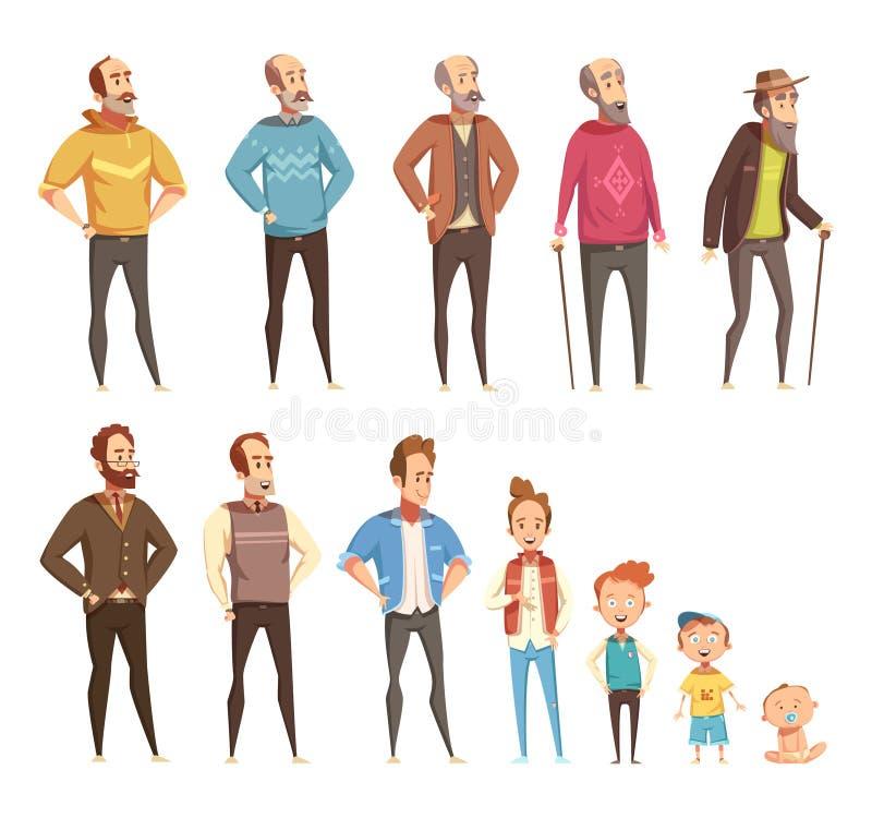 Ícones decorativos da geração dos homens ajustados ilustração royalty free