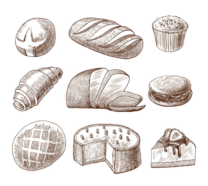 Ícones decorativos da pastelaria e do pão ajustados ilustração do vetor