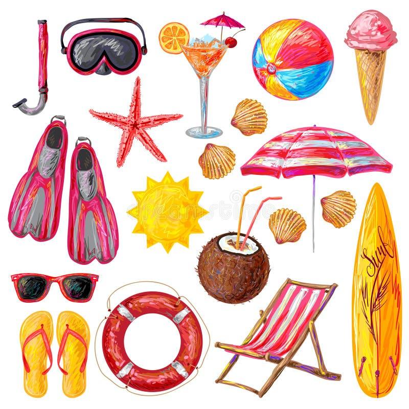 Ícones decorativos das férias de verão ajustados ilustração royalty free