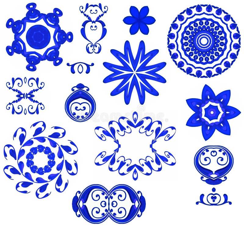 Ícones decorativos das formas - azul ilustração royalty free