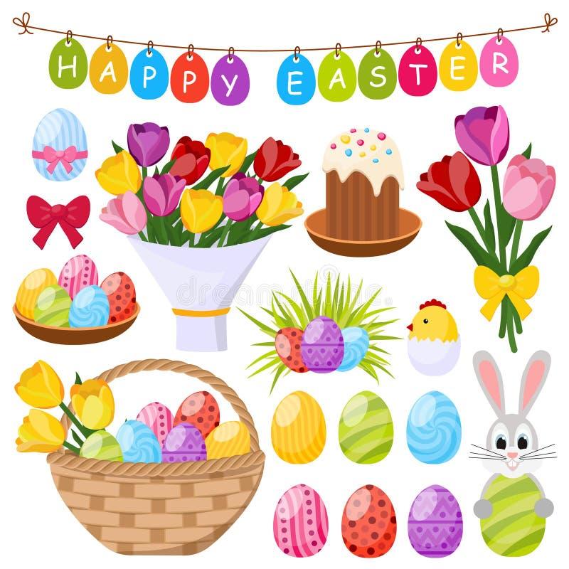 Ícones decorativos do dia da Páscoa ajustados ilustração royalty free