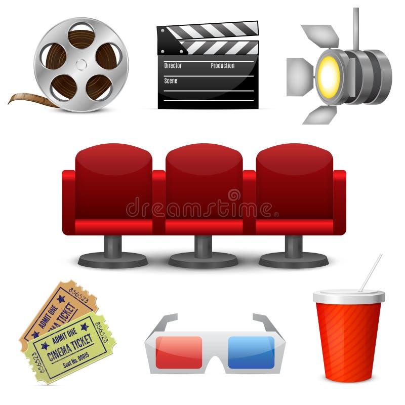 Ícones decorativos do entretenimento do cinema ilustração royalty free