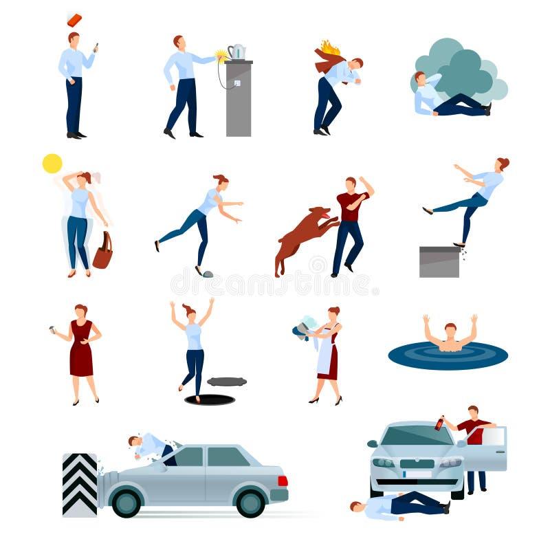 Ícones decorativos dos perigos dos ferimentos dos acidentes ajustados ilustração royalty free
