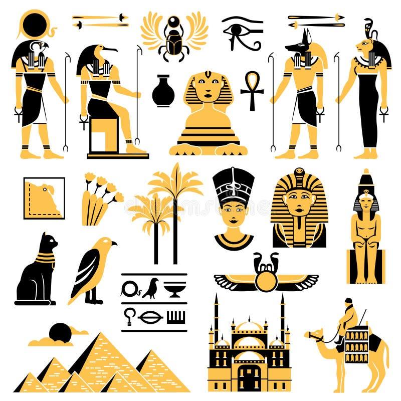 Ícones decorativos dos símbolos de Egito ajustados ilustração stock