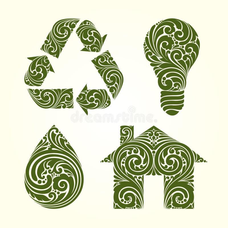 Ícones decorativos decorativos dos símbolos do eco ajustados Recicle a ampola de gota da casa do símbolo Ilustração do vetor ilustração royalty free