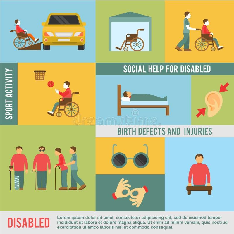 Ícones deficientes ajustados ilustração do vetor