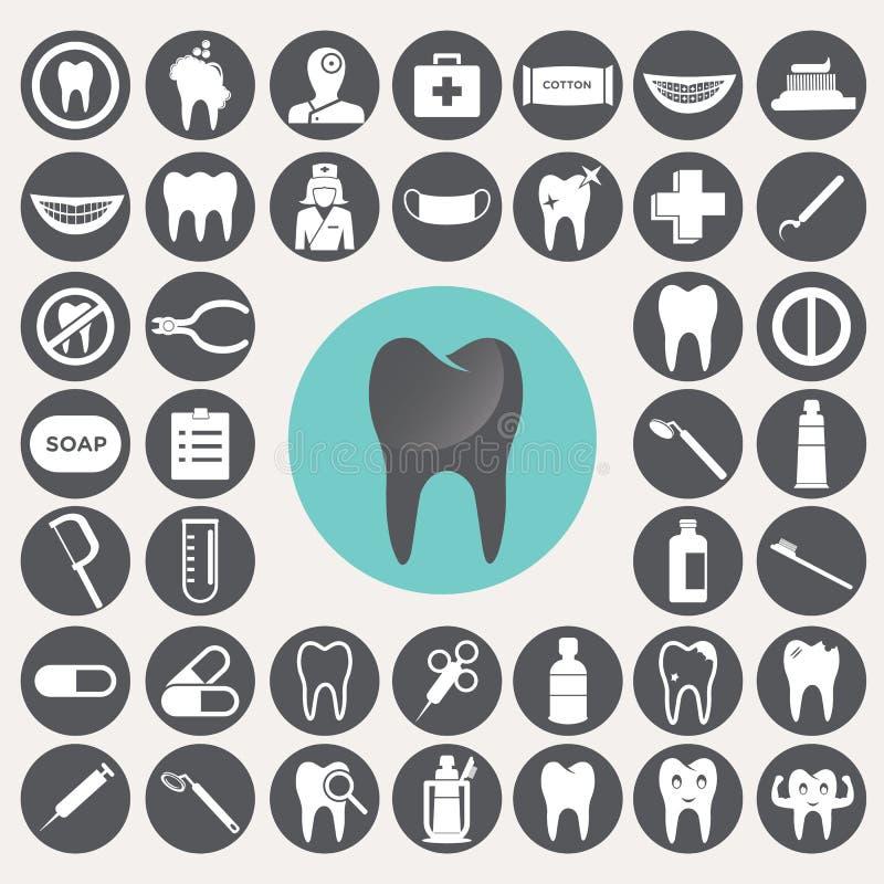 Ícones dentais ajustados ilustração do vetor