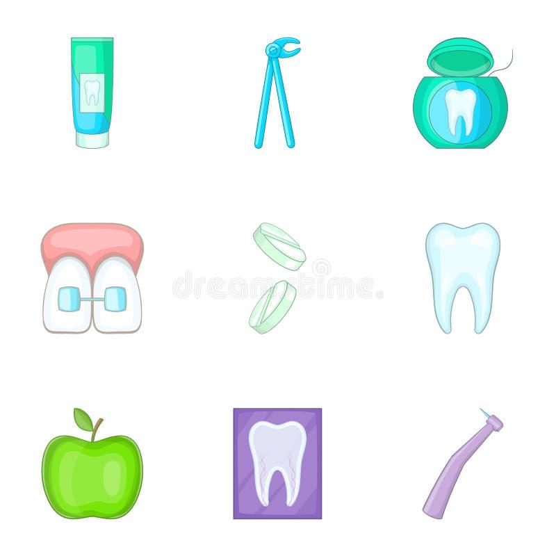 Ícones dentais ajustados, estilo dos desenhos animados ilustração stock