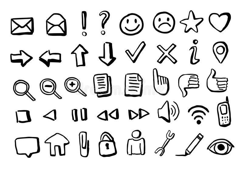 Ícones desenhados à mão ilustração do vetor
