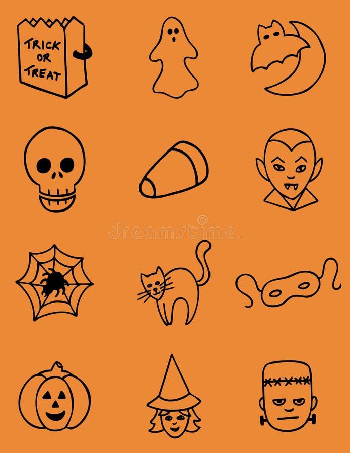 Ícones desenhados mão de Halloween fotografia de stock