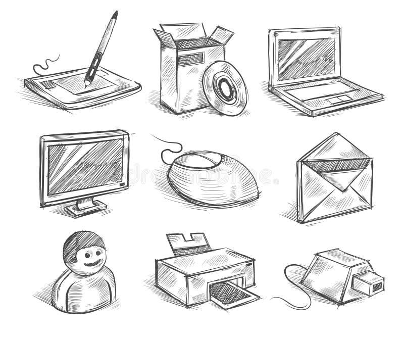 Ícones desenhados mão do computador ilustração stock