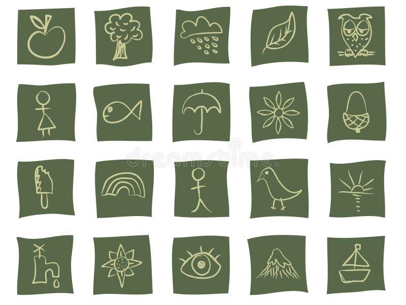 Ícones desenhados mão no verde ilustração do vetor