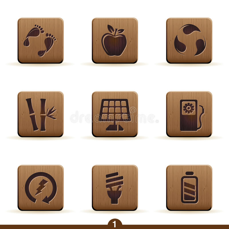 Ícones detalhados da ecologia ilustração stock