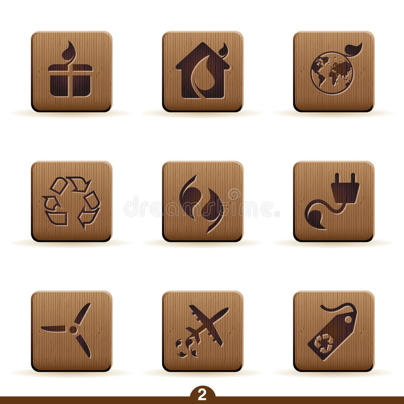 Ícones detalhados da ecologia ilustração do vetor